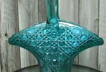 Pretty Glass Baskets / Additional glass baskets are in my Fenton Baskets board. / by Jean Kneff
