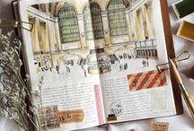 aes | tower of sketchbooks