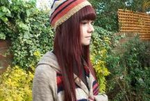 Hand knit hats for women / Beanies, slouchy hats, fruit hats, animal hats. All hand knit by me at www.purplekittyclothing.co.uk