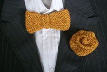 Handmade Wedding / Hand knit buttonholes, bow ties and corsages.