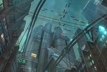 Cyberpunk - Environments / Neon lights piercing rainy night skies, cars hovering through seedy slums, skyscrapers looming in the background... Sounds like a Cyberpunk city alright! Harbor Prime, the main setting of our game Dex, drew a lot of inspiration from this artwork.