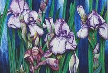 Paintings of Irises / Some beautiful and inspirational paintings of irises.  I enjoy painting these myself. I am always impressed by the variety of styles and creative usage of colour, lighting and paint techniques.