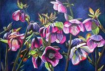 Paintings of Hellebores / These are beautiful flowers to paint. There is such a range of different colours on each flower, and within each plant. I have enjoyed painting these myself, and hope to find a good collection of other artists here too!