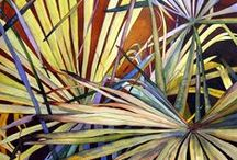 Paintings of Leaves / Leaves can be as visually exciting as flowers. Here are some examples I particularly like. As usual I am drawn to strong colours and interesting composition.