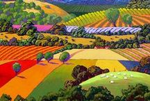 Paintings of Landscapes / There are millions of paintings of landscapes out there! I have collected some that use colour in a strong way. Some that are decorative and pattern-like, but none that  just copy exactly what is seen. These show what the artist has added to their vision of the world!