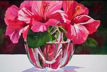 Paintings of Flowers in vases / Some interesting and colourful paintings showing flowers in vases. I look for paintings that show a creative and attractive approach to the theme.
