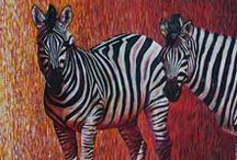Paintings of Zebras / So interesting, these black and white striped animals. A patterned painting however it is done!