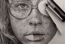 Pencil Drawings of Portraits / Showing incredible use of shading, tone, realism and detail. Plus so much character  These examples are amazing to me!!