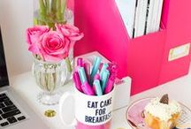 Girly Office Decor / Decorate your office with personalized girly accessories just for women to make your work space cute and comfy.