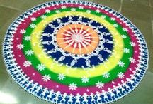Rangoli designs / Rangoli images & videos  - A folk art from India, Rangoli are decorative designs made on the floors of living rooms and courtyards during Hindu festivals.