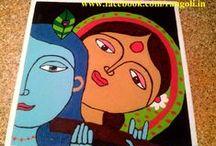 rangoli of radha krishna / https://www.facebook.com/rangoli.in
