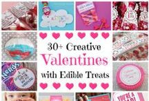 Valentines with Edible Treats / Great creative ideas for DIY Valentine's cards with candy and other edible treats.