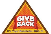 Brownie Give Back Badge Ideas / Requirements for Give Back Brownie Badge--  Step 1: Find out about businesses that give back.  Step 2: Set a giving goal.  Step 3: Involve your customers.  Step 4: Practice giving back.  Step 5: Tell your cookie customers how they helped.  / by Brownie Girl Scout Badges