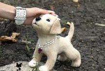 Needle-felted dogs