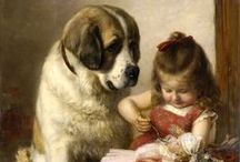 Сhildren with dogs