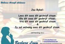 Heelheid in Afrikaans. / Afrikaans words for healing, health and wellness