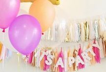 It's A Party! / Party, balloons, fringes, bunting, colors, party ideas / by Sandra M