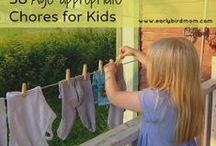 Teaching Kids Responsibility / Ideas for teaching kids' responsibility and getting them involved in chores and helping around the house.