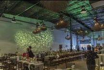 Erik & Kathy Wedding / Indoor reception outdoor ceremony for 175 people at Vuka Co-Op on November 19, 2013. Photographs taken by Rachel Atkinson - Lighting Designer at Atomic Picnic. atomicpicnic.com