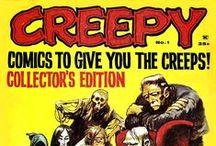 """Creepy, Eerie y Vampirella. (Warren, Toutain, Dark Horse) / Creepy fue la primera de las tres grandes revistas de cómic de terror editadas por la compañía estadounidense Warren Publishing, quien a rebufo de su éxito sacaría también """"Eerie"""" (1966-1983) y """"Vampirella"""" (1969-1983). Fue el título de dos revistas especializadas en historieta de terror: Una estadounidense y otra española. La edición estadounidense (Warren Publishing, 1964-1983) La edición española (Toutain Editor, 1979-1985 y 1990-1992)"""
