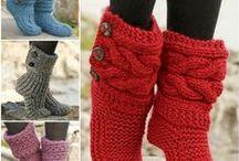 Pantoufles / tricot et crochet