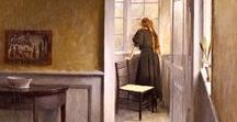 """Ilsted, Peter Vilhem (1861 - 1933) / Danish painter was a leading artist together with his brother in law Vilhem Hammershøi and Carl Holsøe in the early  20th century Denmark. His (their) works reflect the orderliness of a tranquil life - similar to the works of Vermeer. famous for painting images of """"Sunshine and silent rooms"""" in subtle colors- Evokes a sense of calm as well a sense of mystery."""