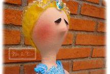 Bailarina Azul / Cabelo feltrado com lã pura