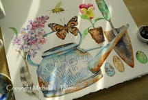 Michelle Palmer / From my earliest memories I have wanted to record nature through illustration. My childhood journeys through the pasture, creek beds, forest... found my pockets filled with beautiful treasures! Birds, mice, rabbits; my constant companions. Mixing nature with my favorite treasures and adding some of my favorite thoughts and quotes on paper, fabrics and antique linens~ from my heart. Michelle Palmer