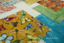 Michelle Palmer Fabric / To have my paintings and illustrations brought to life on fabrics~ When artist samples arrive from Red Rooster Fabrics my heart skips a beat! They keep the look of my hand! Red Rooster's design team build collections from my full size paintings and the smallest of sketches. The smallest details are kept and they pair their design with the most beautiful fabrics. How I love to see finished projects made from our fabric collections~ Michelle Palmer