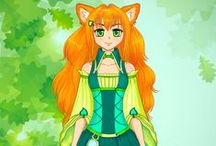 Main characters of Fast Fox Game / This pad is devoted to development of our new platformer game (made with Unity). The action happens in fantasy humorous world and the main characters are fox and girl.