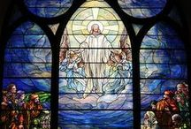 Tiffany Studios, NY / Collection of stained glass windows from Tiffany Studios, NY and designs by Louis Comfort Tiffany.