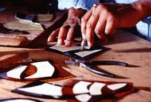 Works in progress / This board shows the creation of new stained glass windows.