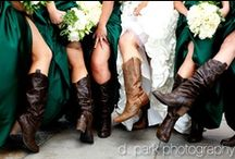 Country wedding - boots & dresses