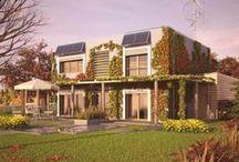 """Zielony  / """"Zielona elewacja"""" skrywa przestronny, piętrowy dom dla 4-5-osobowej rodziny.  Powierzchnia użytkowa (m2) - 191 Zapotrzebowanie na energię (kWh / m2rok) - 19,03  Autor: arch. Dorota Palmączyńska"""