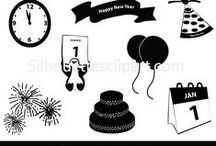 NEW YEAR VECTOR GRAPHICS / Silhouette is a collection of Vector design resources that help make your flyers, brochures, websites, apps, themes, and other designs even more unique with less time