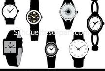 FASHION VECTOR SILHOUETTES / A set of fashion vector watch silhouette on a white isolated background.