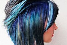 beauty: presence: blue/purple hair / something to conceal a growing out pixie?
