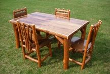 Amish-Made Rustic Log Sassafras Furniture / Rustic Log Sassafras Benches, Tables, Rocking Chairs, Desks, Tables, Beds, and more.  Perfect for a summer home, log cabin, hunting lodge, or farmhouse.