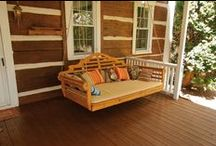 """Porch Swing Beds / Oversized porch swing beds - in lengths from 4' to 75"""" - add a swing bed mattress and pillows for a relaxing experience!  Amish made in the USA of locally sourced pine and cedar woods."""