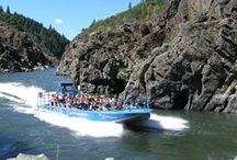 """Hellgate Jet Boat Excursions - Rogue River / People travel from far and wide to experience Hellgate's amazing array of Jetboat rides.  Each float is a unique experience, some including a sensation lunch or dinner portion at the half-way lodge """"OK Corral"""", and all venturing into the famous Hellgate Canyon!  Be prepared to get splashed, sprayed, and soaking wet as the guides take you through the twists, turns, and whirlpools of the beautiful Rogue River!  This is fun for all ages that you will never forget!"""