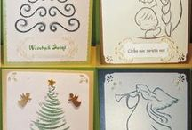 Boże Narodzenie, Christmas - stiching cards, haft matematyczny, izonit / Cards made by stitching card (izonit) technique.