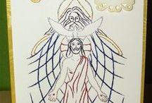 Religijne, religious - stiching card, haft matematyczny, izonit