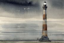 Art- Lighthouse *** / Lighthouse art/illustrations / by Simply~ E·L·L·Y