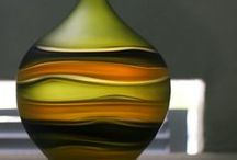 Art Glass Vase / Made by independent artists from glass studios across the United States. Each piece is unique and one of a kind. A colorful piece of home decor!