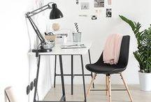 Espace de travail / Travailler chez soi. Du plus petit coin au plus grand espace. Avec un peu d'imagination et un tableau d'inspiration. Comment se créer un agréable espace de travail et l'organiser.