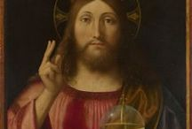 salvator mundi / or Saviour of the World, is a subject in iconography depicting Christ with his right hand raised in blessing and his left hand holding an orb surmounted by a cross, known as a globus cruciger. The theme was made popular by Northern painters such as Jan van Eyck, Hans Memling, and Albrecht Dürer.