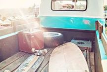 Rides to the Beach / Awesome Beach Rides! VW Vans, Old School Ride, Bikes, Skateboards, Piggy Back
