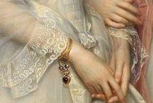 ART - LACE, EMBROIDERY, JEWELRY, DETAIL.. / Čipka, výšivka, šperk a detail v dielach majstrov