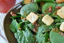Salads / SPINACH SALAD: Dressing: 1/4 - 1/2 cup oil 1/4 cup ketchup  1/4 cup sugar 2 tbsp red wine vinegar 1/2 tsp Worcester sauce 1/2 tsp dry mustard 1/2 tsp cayenne pepper  Shake of salt ADD TO: 2 cups fresh spinach 2 boiled eggs 1 cup fresh bean sprouts 1/4 cup crumbled bacon 2-3 slices of white onion Small can of water chestnuts  You can also add stawberries