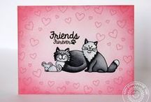 Furever Friends / Handmade Kitty Cat Cards and other paper craft ideas using Sunny Studio Furever Friends Stamps & Dies